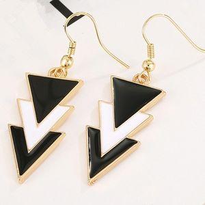 Black & White Triple Triangle Drop Dangle Earrings
