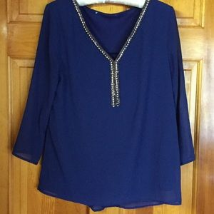 Francesca 's  Dark Blue gorgeous Blouse