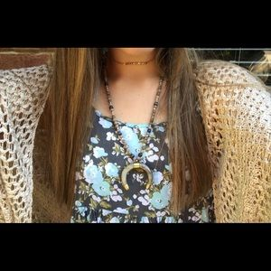 Boho beaded tusk necklace