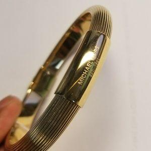 MK Gold Tone Ribbed Hinge Bracelet