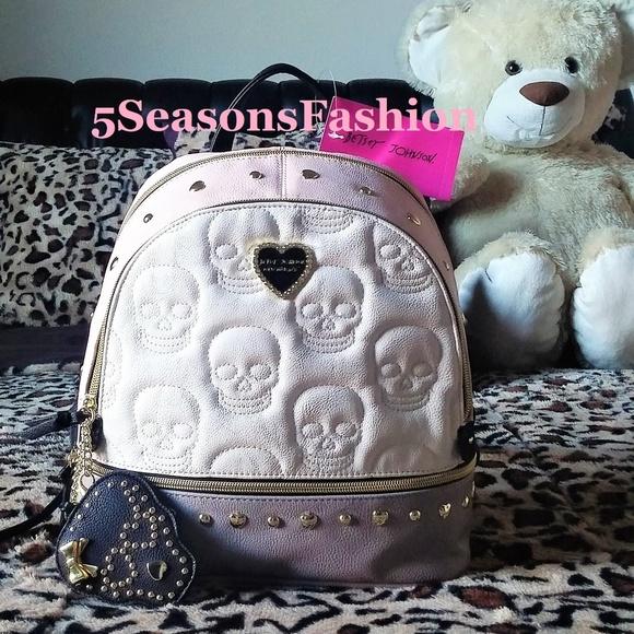 Betsey Johnson Handbags - 💋 BETSEY JOHNSON Embossed Skull Backpack Bag Stud 52575c360c79e