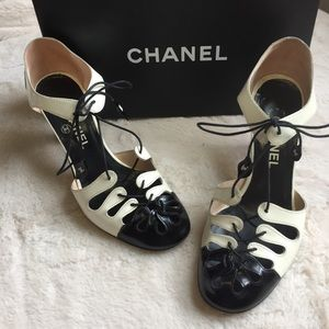 Chanel Lace Up Patent Heels