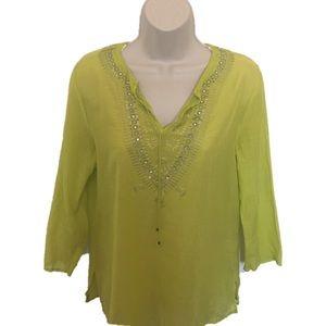 Express Lime Green Cotton/Silk Blend Tunic