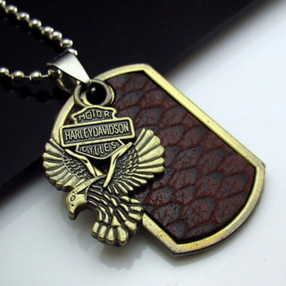 Accessories Nwt Mens Cowhide Bronzed Harley Davidson Necklace