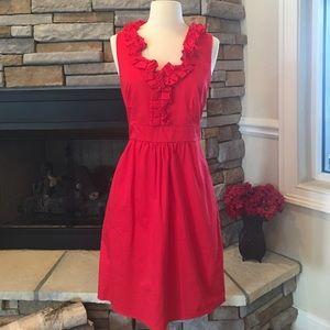 Dresses & Skirts - Red Ruffle Neck Dress