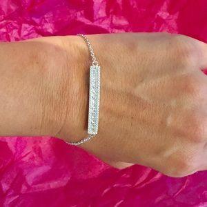 Jewelry - Pave sterling silver CZ bar bracelet