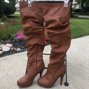 Cognac/Brown Knee High Leather Boots