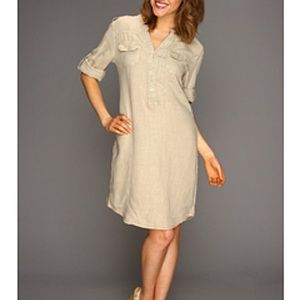 Tommy Bahama Relax tan linen 3/4 sleeve dress S