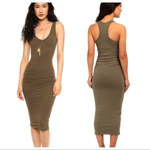 Olive green Suede bandage Bodycon racerback dress