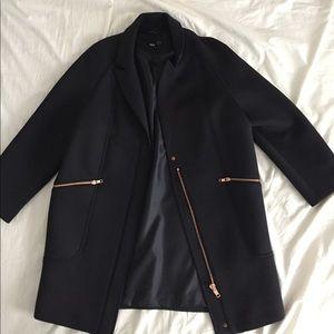 Asos Scuba Coat with Rose Gold Zippers