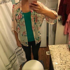 Express Pink Floral Lace Kimono, Size XS