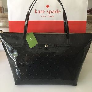 🆕KATE SPADE NEW XLARGE PATENT SHOULDER TOTE 💯AUT