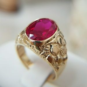 15mm 14k  Yellow Gold Men's Nugget Ruby Ring