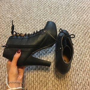 Mock Jeffrey Campbell lace up boot heels