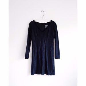 Vtg Cynthia Rowley Black Crochet Mini Dress sz 6