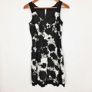Kenzie black and white fit and flare dress