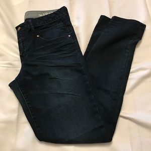 High rise skinny double button