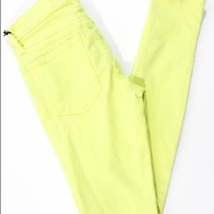 Joes Jeans neon yellow mid rise skinny size 28