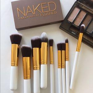 White & Gold makeup brush set!