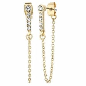 Rebecca Minkoff Gold  Chain Front Back Earrings