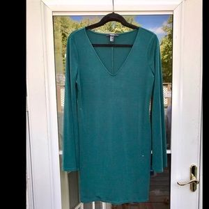 Forest Green V-neck Long Sleeve Dress