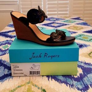 NWB Jack Rogers Luccia Wedge Sandal Black Sz 11