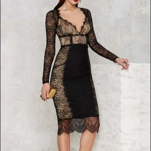 Nasty Gal black nude  Midi Dress D7