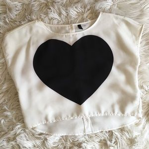 Heart Print Crop Top Blouse