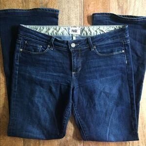 Paige Wide Leg Medium Dark Wash Jeans