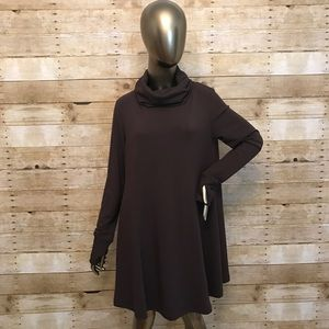 CAbi Long Brown Tunic Top Size L Cowl Neck #596