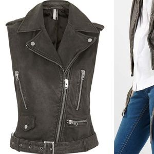 Topshop genuine leather sylvia vest
