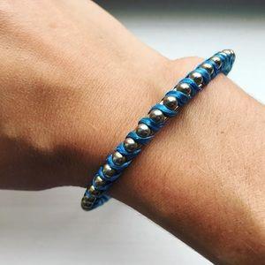 Boho metal ball & blue ribbon bangle bracelet