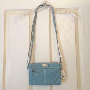 Slate blue Rosetti multi-pocket cross-body purse