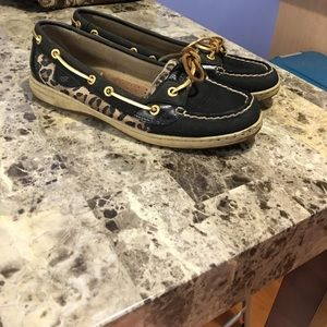 Black leopard Sperry Top Sider Boat Shoes (W8)