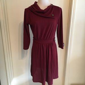 Button Collar Sweater Dress - Burgundy Red