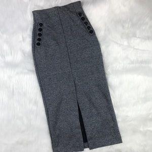 H&M Grey Midi pencil skirt