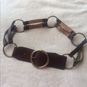 MICHAEL KORS Leather and Chain Link Belt
