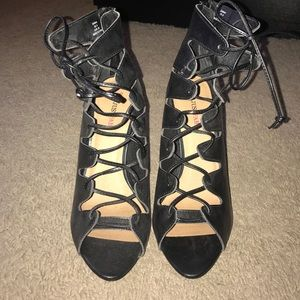 Just Fab Strappy Black Lace Up Heels