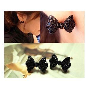 New! Black Rhinestone Bow Stud Earrings