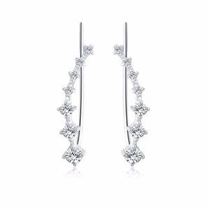 Women' CZ Crystal Leaf Ear Wrap Earrings NEW