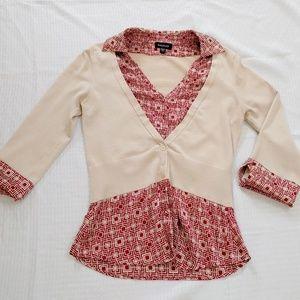 bebe sweater silk top