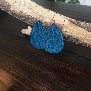 Nickel & Suede teal leather earrings