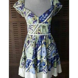 Free People Cap Sleeve Floral Eyelet Crochet Dress
