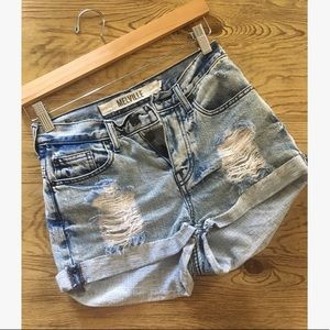 B❤️M High Waisted Distressed Jean Shorts