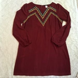 Gorgeous West 36th maroon embroidered shift dress
