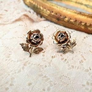 Vintage Gold Rose Earrings Screw Closure Back