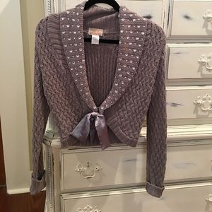 Charcoal Gray shrug with crystals