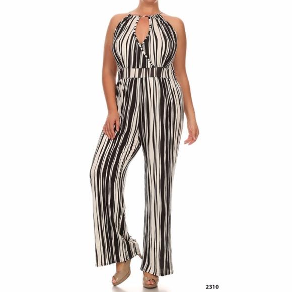 f8ff5d043d7 White Black Stripe Plus Size Womens Jumpsuit