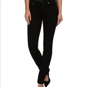 7 for all mankind black straight leg skinny jeans