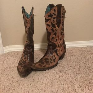 Destressed Coral boots